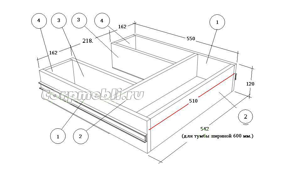 Размеры деталей выдвижного ящика в тумбе под мойку