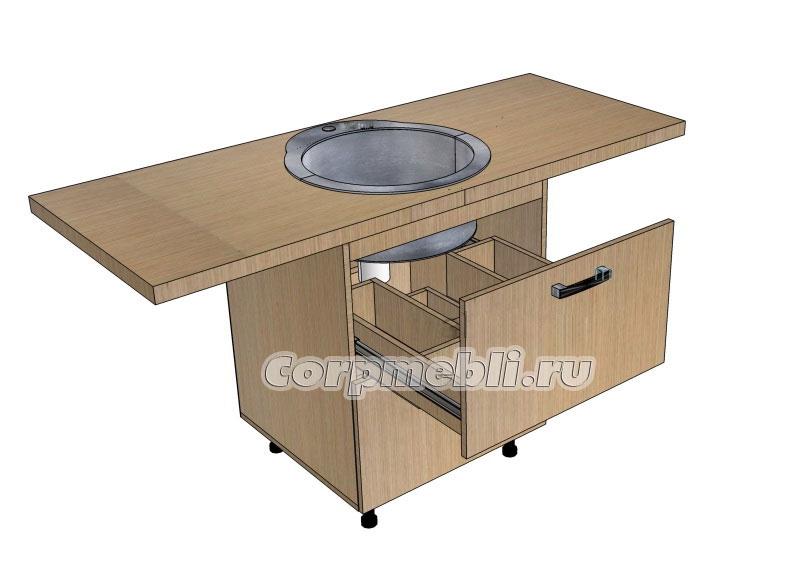 Выдвижной ящик в тумбе под мойку для кухни