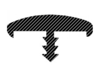 Врезной Т-образный ПВХ-кант с бортиками (вид в разрезе)