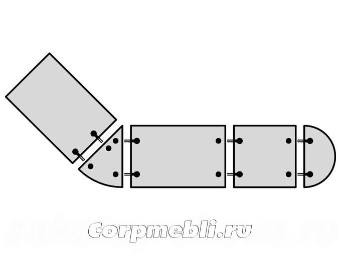Пример применения стяжек в соединениях столешниц сложной формы