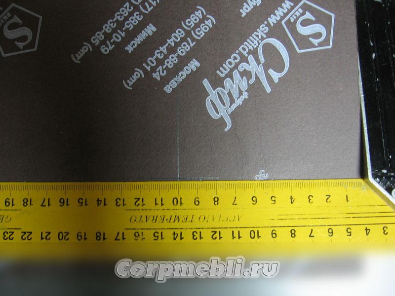 Разметка для стяжек с помощью угольника: 100 мм